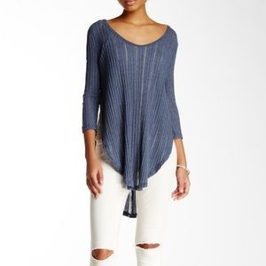 Free People Hacci Split Ribbed Top Blue